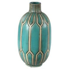 Ceramic vase with a geometric tile motif.   Product: VaseConstruction Material: CeramicColor: BlueDimensions: 14.5 H x 7.5 DiameterCleaning and Care: Dry wipe clean with a cloth