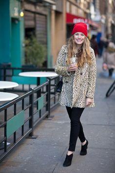 red cap // leopard coat