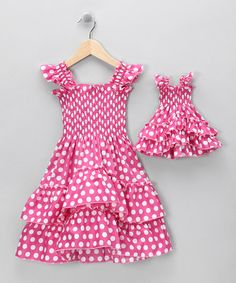 Take a look at this Pink Polka Dot Angel-Sleeve Dress & Doll Outfit - Toddler by 4EverPrincess on #zulily today!
