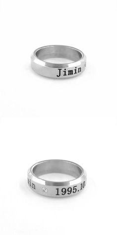 [Visit to Buy] Youpop Kpop k-pop bts album Jimin ring Bangtan Boys Bulletproof Boy Scouts one jewelry couple silver rings set for men and women #Advertisement