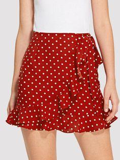 Elegant A Line Polka Dot Sheath Mid Waist Red Above Knee/Short Length Knot Side Overlap Ruffle Trim Dot Skirt with Belt Skirt Midi, Dress Skirt, Ruffle Skirt, Skirt Suit, Look Fashion, Girl Fashion, Fashion Outfits, Womens Fashion, Fall Dresses
