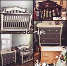 Crib makeover. Nursery makeover, refinished crib and changing table in grey chalk paint with white and slight distressing. Follow us on Instagram @jandb_designs Facebook: JandB-Designs AZ https://m.facebook.com/jandbdesignsaz