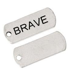 """30 Count Antique Silver Brave Message Charm Rectangle Pendants 7/8"""" x 3/8"""""""