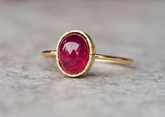 Ruby engagement ring  14k gold ruby ring gemstone ring  by ARPELC