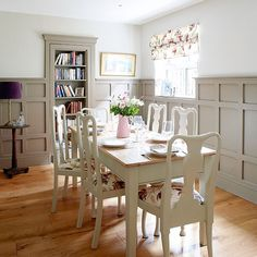 Pale grey dining room with painted wall panels | Dining room decorating | Country Homes and Interiors | Housetohome.co.uk