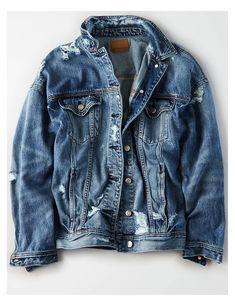 35ba362dd4479 AE Destroy Boyfriend Denim Jacket, Blue   American Eagle Outfitters  Americaneagleoutfitters
