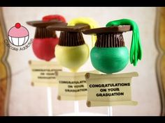 Make Easy Graduation Hat Cake Pops! Learn how to make these using our FREE online video tutorials. Visit YouTube channel MyCupcakeAddiction for these and lots more cupcake and cakepop decorating tutorials!