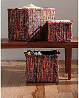 "Rue La La - The Company Store ""Rainbow Chindi"" Set of 3 Nested Baskets"