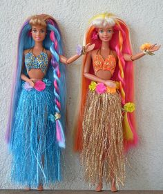 Hula hair Barbie  Teresa, via Flickr.   I have the other friend.  I think she was a one of a kind for that doll.