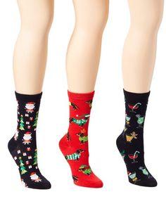 Loving this Black & Brick Red Cocktails & Trees Three-Pair Socks Set - Women on Red Cocktails, Black Brick, Christmas Clothing, Chill, Festive, Trees, Footwear, Spirit, Pairs