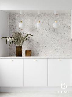 Beddinge, Scandinavian Kitchen, Kitchen Worktop, Grey Kitchens, Küchen Design, Modern Kitchen Design, Terrazzo, Decoration, Kitchen Remodel