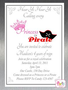 Printable DIY Princess and Pirate Party by ThePartyBakery on Etsy, $10.00