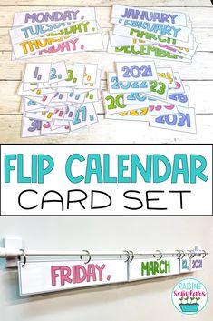 Flip Calendar, Classroom Calendar, Calendar Board, Classroom Board, 5th Grade Classroom, Classroom Walls, Classroom Setup, Classroom Design, Classroom Displays