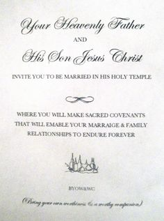 LDS Young Women Activity Ideas and More!: Temple marriage handout (or invite)