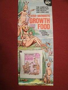 "Vintage Sea Monkeys Growth Food !!! LOL I HAD SEA MONKEYS.  My brother and I ""grew"" these things more than once....I think in reality they were mosquito larvae or something!  Yuck!"