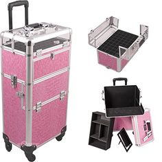 Sunrise Outdoor Travel Professional Cosmetic Holder Pink Crocodile Texture Trolley Makeup Case - I31061 * Click image to read more details. #MakeupArtistKits