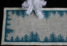 Pine Tree Christmas Table Runner Free Cross Stitch Pattern