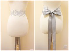 Light Silver Flower Metallic Lace with Grey Satin Sash // Bridal Sash. $22.00, via Etsy.