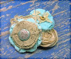 Aqua, Tan, Turquoise Headband, Beige Hair Accessory, Fabric Flower Brooch, Hair Clip. $21.50, via Etsy.