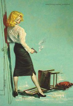 Pulp Fiction illustration by Robert Maguire. Robert Mcginnis, Pulp Fiction Art, Pulp Art, Retro Humor, Vintage Humor, Retro Funny, Vintage Romance, Comics Vintage, Arte Pop