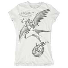 Sketchbird Compass by Jime Litwalk Steampunk Women's Jr Tattoo T Shirt.   Tattoo artist Jime Litwalk hails from Detroit, Michigan but now works out of Hart & Huntington Tattoo Company at the Hard Rock Hotel & Casino in Las Vegas, Nevada. Jime Litwalk has no formal art training but did airbrushing for 4 years before starting his tattoo career. Hobbies include painting, drawing, and being with his family. Tattoo T Shirts, S Tattoo, Hart And Huntington, Tattoo Clothing, Sugar Skull Design, Right Meow, Tees For Women, Hard Rock, Graphic Tees