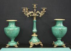 2 Vasen + Kandelaber Porzellan Bronze Frankreich