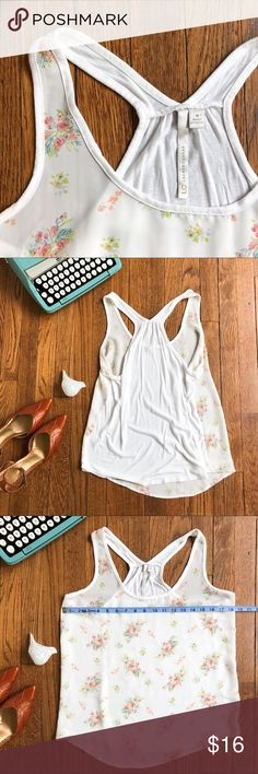 Lauren Conrad Racerback Flirty Floral Tank Woven Front, Soft Tee Back Semi-Sheer Flirty Floral Print Size M, Measurements in Photos  Barely Worn w/ One Slight Flaw (see last photo, only visible up close). LC Lauren Conrad Tops Tank Tops