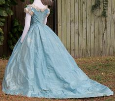Blue silk taffeta and tulle ballgown c.1866