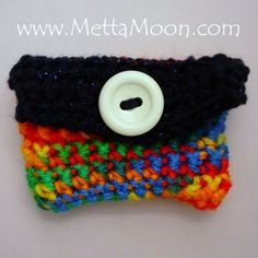 NEW MettaMoon Card Cozy Crochet Wallet Mix and Blue