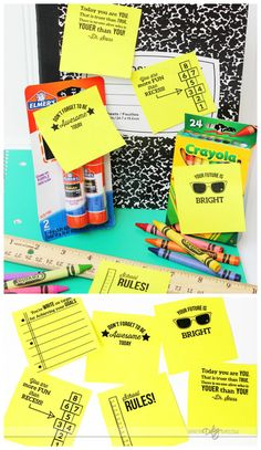 Back to School Ideas - leave notes on supplies before putting them in their backpack! So fun and EASY!