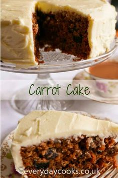 Carrot Cake with a cream cheese frosting - one of the classics. This recipe uses butter and is easy to make and delicious to eat. Baking Recipes, Cookie Recipes, Snack Recipes, Dessert Recipes, Carrot Banana Cake, Carrot Cakes, Cakes Made With Oil, Apple Cinnamon Bread, Pudding Desserts