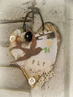 Vintage Altered Bird Collage Vintage Mixed Media by QueenBe, $11.50