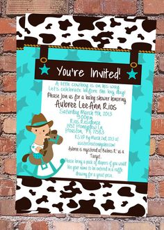 10 OFF Little Cowboy Baby Shower Invitation by GlitterboxCreation, $15.00