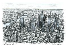 Aerial view of City of London skyscrapers of the future - drawings and paintings by Stephen Wiltshire MBE