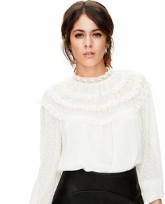 TINI By Martina Stoessel Clothing Line ❤️ Bell Sleeve Top, Vogue, Ruffle Blouse, Turtle Neck, Celebs, Fancy, Outfits, Hair Styles, Sexy
