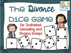Dice Game that encourages expression of feelings and thoughts related to a parent's divorce. Game includes over 100 difficult to ask questions on six different bingo style game boards related to the divorce, including reactions from the divorce, frustrations, and changes since the divorce.Examples of questions include: This is what I remember being told about my parents divorcingThis is what I worry may happen to meThis is how I feel when I think of my parents getting back togetherThis is wh