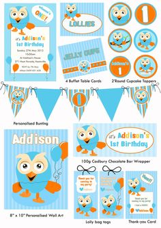 Giggle and hoot party inspiration - already personalized for Tyler! Harry Birthday, Leo Birthday, Mickey Birthday, Boy First Birthday, First Birthday Parties, First Birthdays, Birthday Ideas, Personalised Bunting, Party Themes