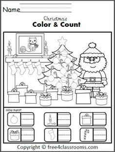 free christmas color and counting worksheet