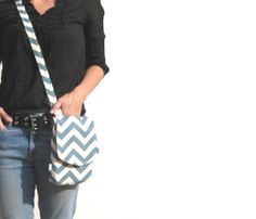 Small Cross Body Bag. Kindle Pouch. Gadget Case. Chevron Bag. MEMBER - SmiLeaGainCreations