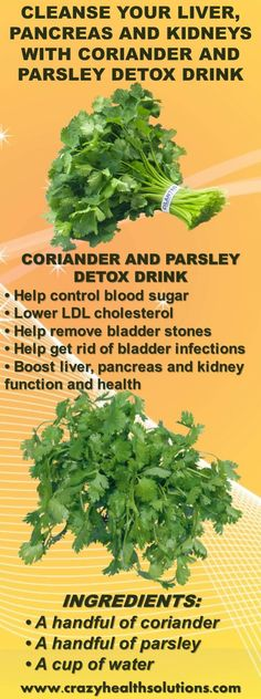 Cleanse Your Liver, Pancreas and Kidneys With Coriander and Parsley Detox Drink . All Detox Kidney Detox Cleanse, Liver Detox Cleanse, Detox Your Liver, Juice Cleanse, Gallbladder Cleanse, Liver Detox Drink, Stomach Cleanse, Body Cleanse, Natural Liver Detox