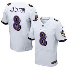 f2493c7ad Nike Ravens  8 Lamar Jackson White Men s Stitched NFL New Elite Jersey  Madden Nfl