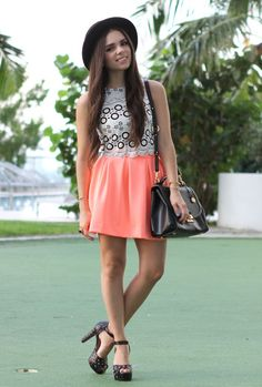 One way to wear a neon skirt