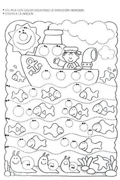 Worksheet Tracing: Sailing in a Circle World. letrimanía 3 - adely l - Álbuns da web do Picasa Tracing Worksheets, Preschool Worksheets, Pre Writing, Writing Skills, Early Learning, Kids Learning, Ocean Crafts, Ocean Themes, Colouring Pages