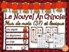 Nouvel An Chinois - 37 mots-étiquettes en couleur pour le mur de mots et 2 pages de lexique (en couleur et en noir et blanc) que les élèves peuvent utiliser comme dictionnaire personnel.
