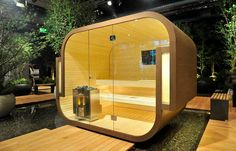 Swing freestanding sauna by Küng to enjoy benefits of sweating at home