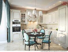На фото – вид на рабочую зону в кухне в неоклассическом стиле