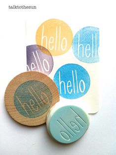 hello rubber stamp. circle rubber stamp. hand carved stamp. hand carved rubber stamp. mounted.