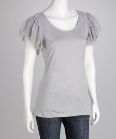Take a look at this Light Gray Angel-Sleeve Tee by Pretty In Pastels: Women's Apparel on #zulily today!