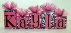 Custom order for texaslady2010 -Zebra Print with Hot Pink Personalized Blocks - So cute - Any name - Baby - Teacher - Classroom Decor - Family - Baby Shower- Photo Shoots via Etsy