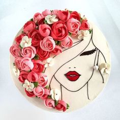 Image could contain: flower - cake decorating recipes kuchen kindergeburtstag cakes ideas Fancy Cakes, Cute Cakes, Pretty Cakes, Beautiful Cakes, Amazing Cakes, Beautiful Birthday Cakes, Girly Cakes, Buttercream Flowers, Buttercream Cake